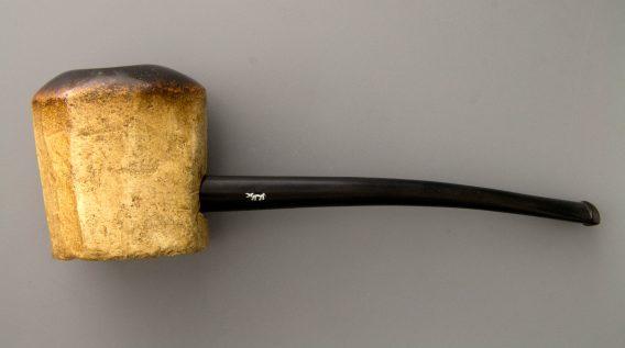 Tanganyika meerschaum pipe -block shape - yellow